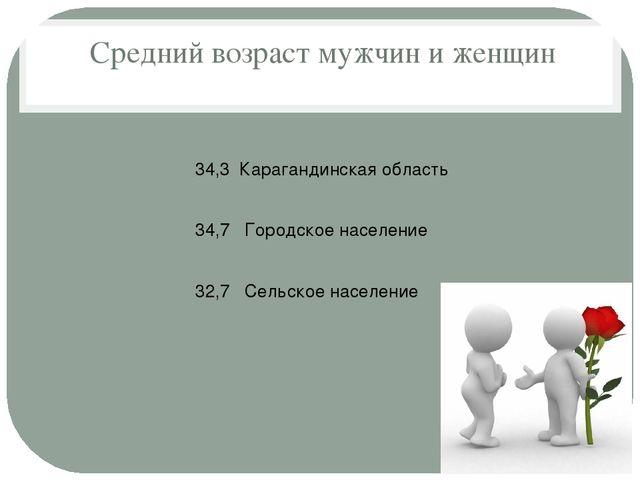 Средний возраст мужчин и женщин 34,3 Карагандинская область 34,7 Городское н...