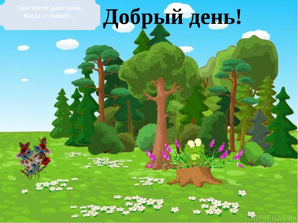 Зазеленеет даже пень, Когда услышит… Добрый день!