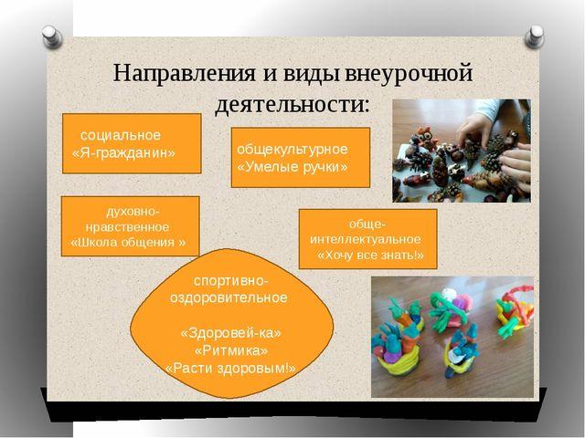 Направления и виды внеурочной деятельности: духовно-нравственное «Школа общен...