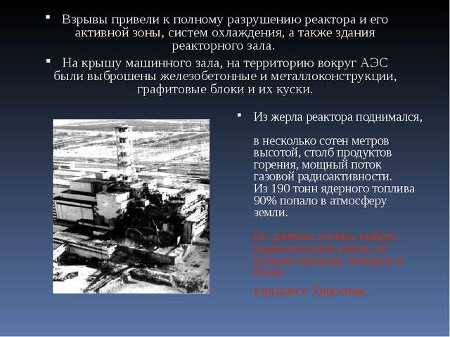 … Взрывы привели к полному разрушению реактора и его активной зоны, систем ох...