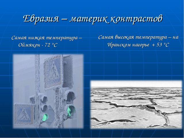 Евразия – материк контрастов Самая низкая температура – Оймякон - 72 °С Самая...