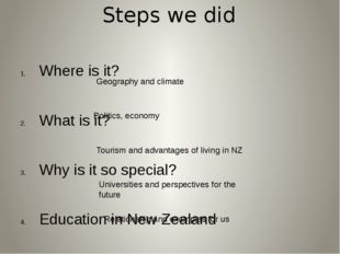 Steps we did Where is it? What is it? Why is it so special? Education in New
