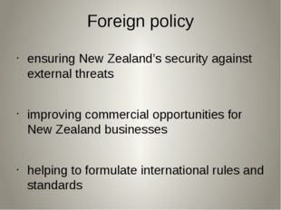 Foreign policy ensuring New Zealand's security against external threats impro