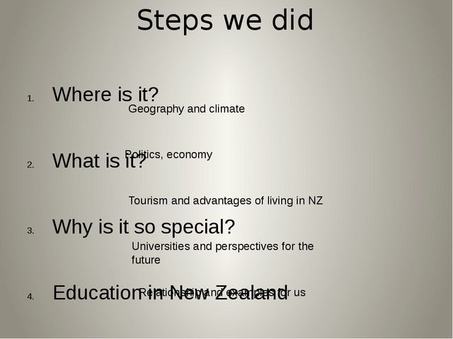 Steps we did Where is it? What is it? Why is it so special? Education in New...