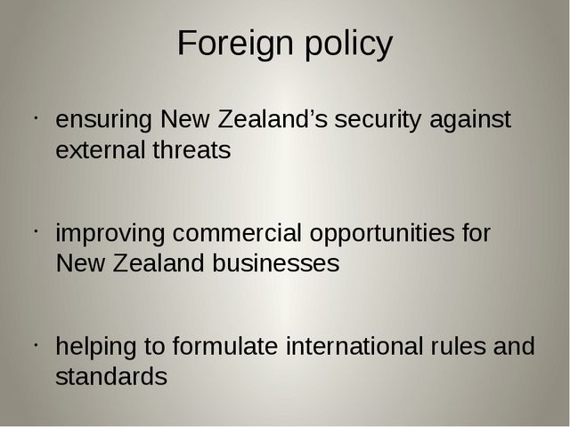 Foreign policy ensuring New Zealand's security against external threats impro...