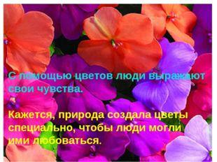 С помощью цветов люди выражают свои чувства. Кажется, природа создала цветы с