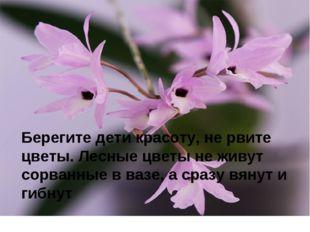 Берегите дети красоту, не рвите цветы. Лесные цветы не живут сорванные в вазе