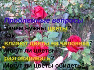 Проблемные вопросы Зачем нужныцветы? Каквлияют цветы на человека? Могут ли