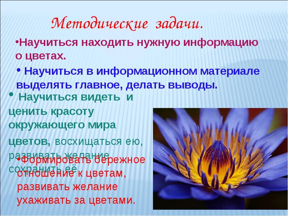 Научиться находить нужную информацию о цветах. Научиться в информационном мат...