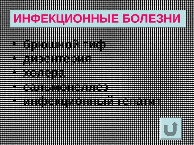 ИНФЕКЦИОННЫЕ БОЛЕЗНИ брюшной тиф дизентерия холера сальмонеллез инфекционный...