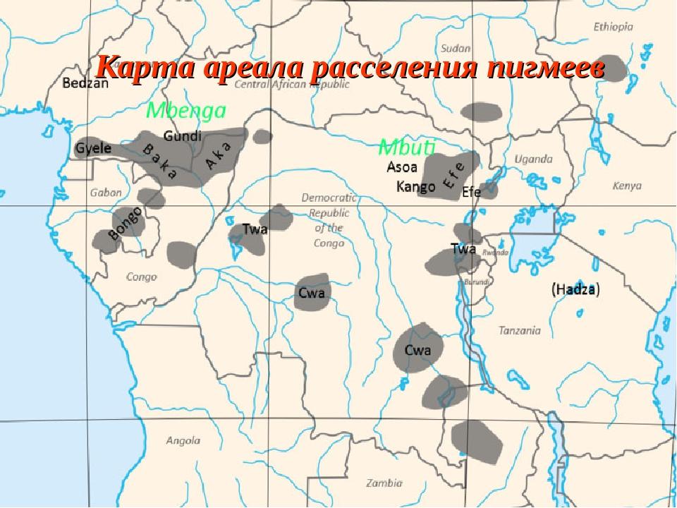 Карта ареала расселения пигмеев