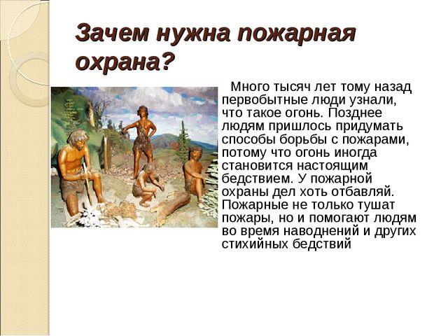 Зачем нужна пожарная охрана? Много тысяч лет тому назад первобытные люди узна...
