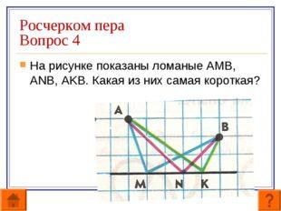Росчерком пера Вопрос 4 На рисунке показаны ломаные АМВ, ANB, AKB. Какая из н