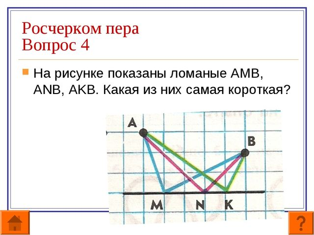 Росчерком пера Вопрос 4 На рисунке показаны ломаные АМВ, ANB, AKB. Какая из н...