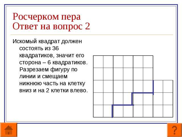 Росчерком пера Ответ на вопрос 2 Искомый квадрат должен состоять из 36 квадра...