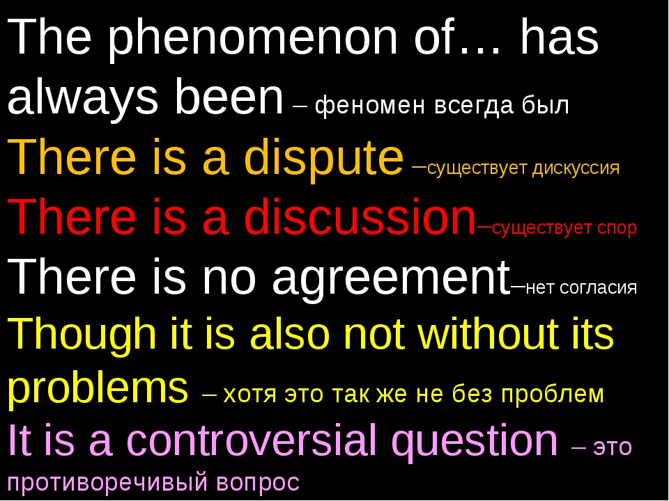 The phenomenon of… has always been – феномен всегда был There is a dispute –с...
