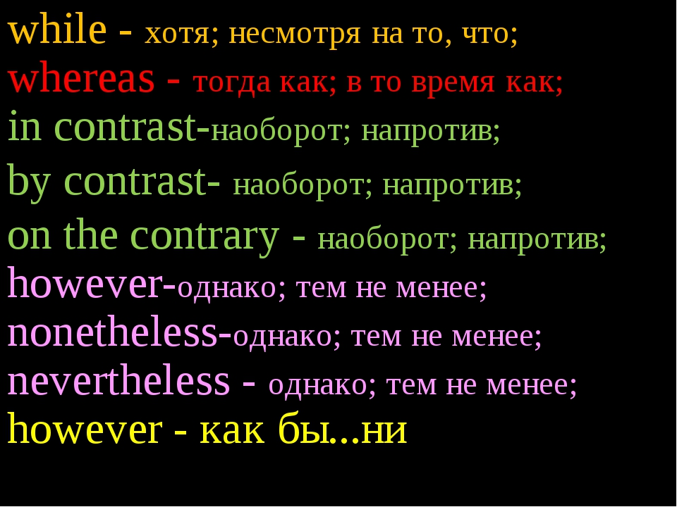 while - хотя; несмотря на то, что; whereas - тогда как; в то время как; in co...