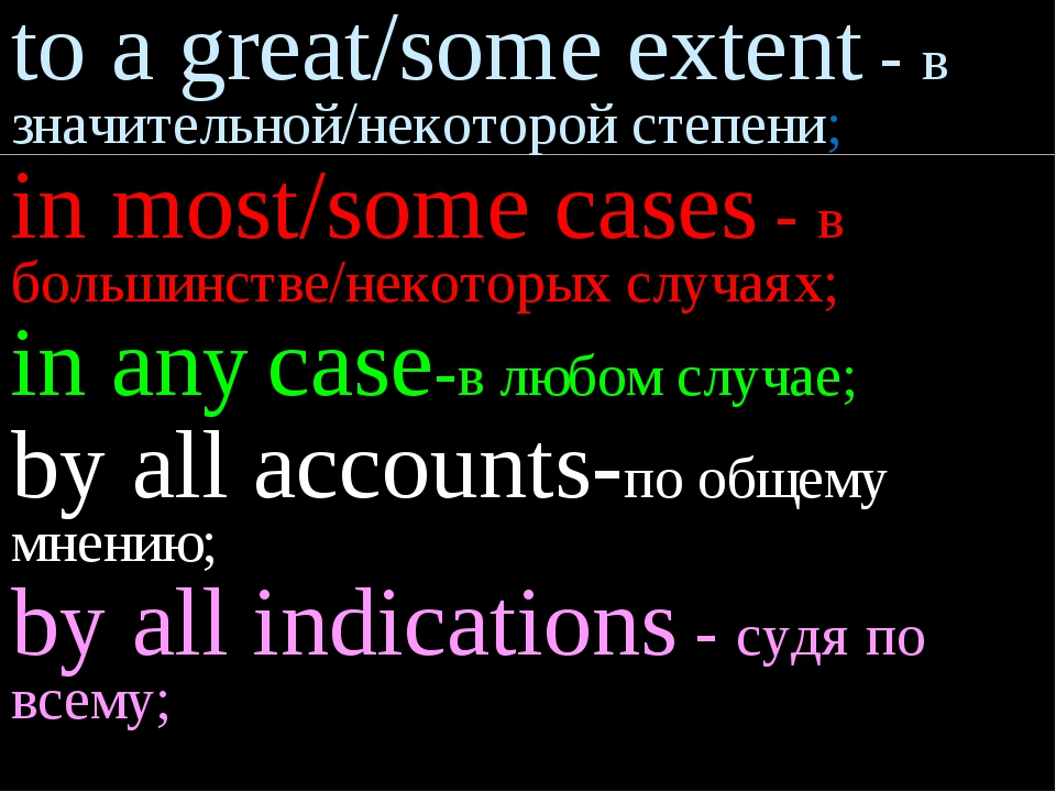 to a great/some extent - в значительной/некоторой степени; in most/some cases...