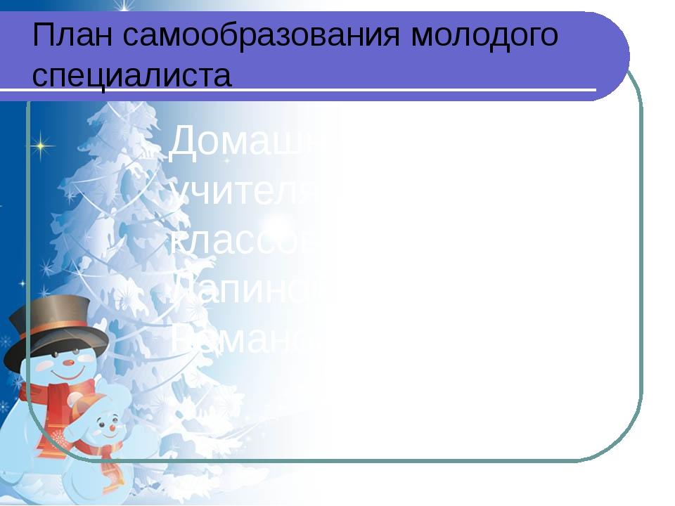 Домашнее задание учителя начальных классов Лапиной Татьяны Романовны План сам...