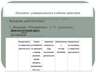 «Базовое» универсальное учебное действие Коммуникативные УУД 1 класс Входна