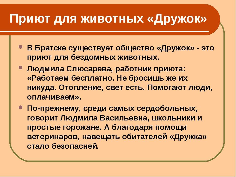 Приют для животных «Дружок» В Братске существует общество «Дружок» - это прию...