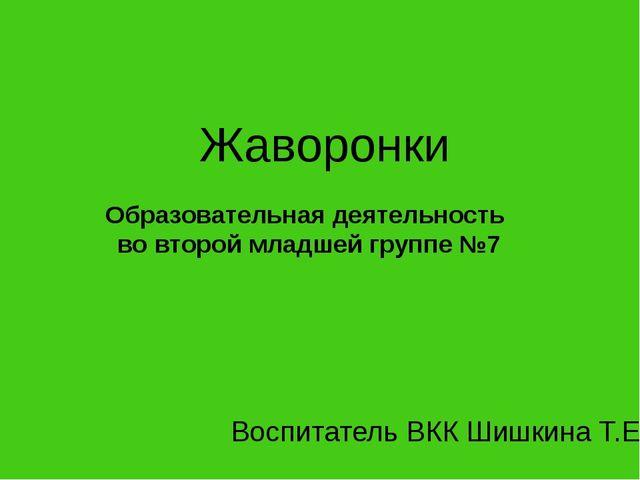 Жаворонки Образовательная деятельность во второй младшей группе №7 Воспитател...