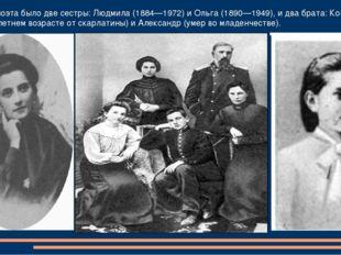 У будущего поэта было две сестры: Людмила (1884—1972) и Ольга (1890—1949), и
