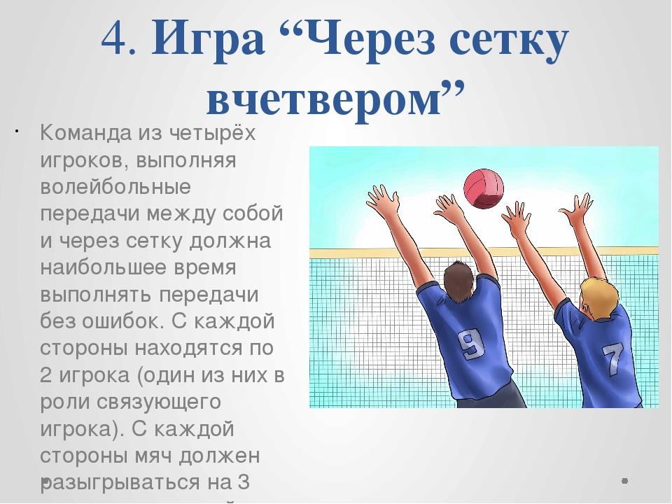 """4. Игра """"Через сетку вчетвером"""" Команда из четырёх игроков, выполняя волейбол..."""