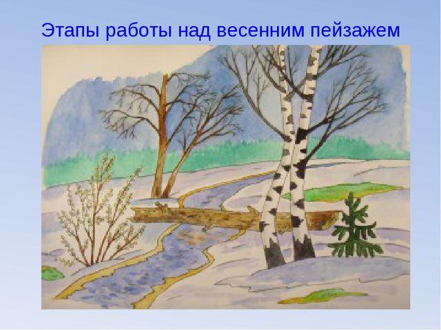 Этапы работы над весенним пейзажем