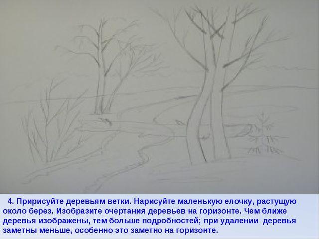 4. Пририсуйте деревьям ветки. Нарисуйте маленькую елочку, растущую около бер...