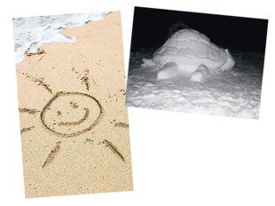 Играя, можно рисовать палкой на песке и лепить фигуры из снега. Можно восполь