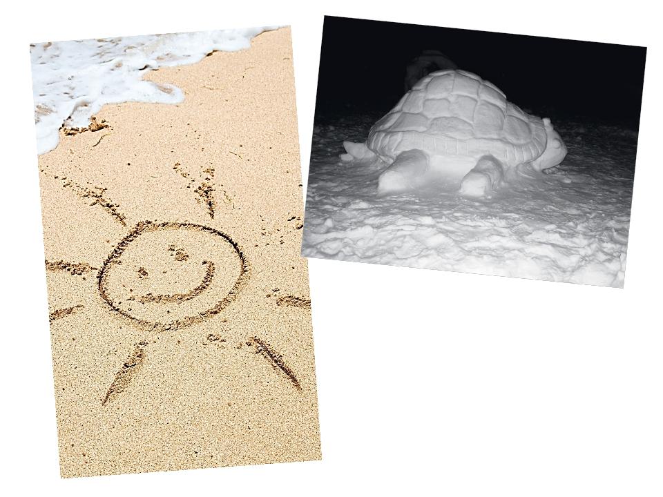 Играя, можно рисовать палкой на песке и лепить фигуры из снега. Можно восполь...