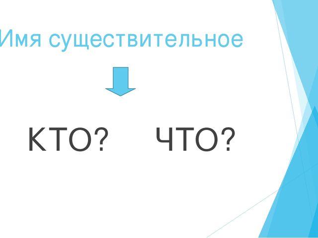 Имя существительное КТО? ЧТО?