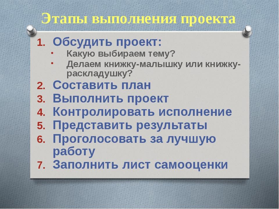 Этапы выполнения проекта Обсудить проект: Какую выбираем тему? Делаем книжку-...
