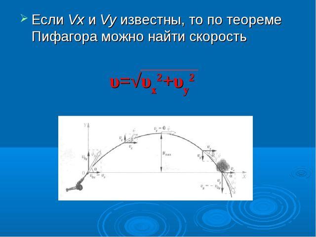 Если Vx и Vy известны, то по теореме Пифагора можно найти скорость υ=√υх2+υу2