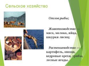 Сельское хозяйство Отлов рыбы; Животноводство — мясо, молоко, яйца, шкурки ли