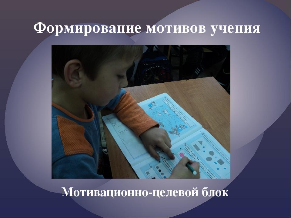 Формирование мотивов учения Мотивационно-целевой блок