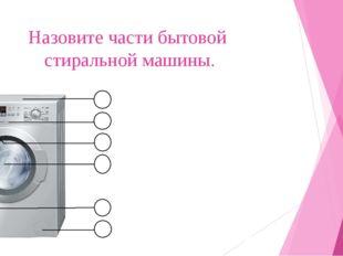 Назовите части бытовой стиральной машины. 1 2 3 4 5 6 Верхняя панель Панель у