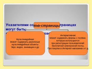 Указателями ссылок на Web-страницах могут быть: фрагменты текста и графическ