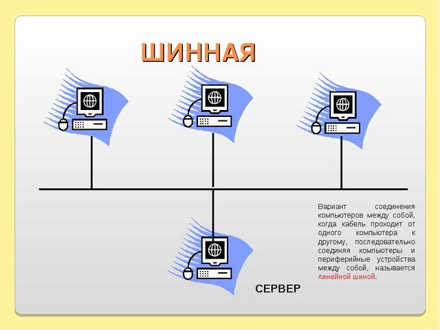ШИННАЯ СЕРВЕР Вариант соединения компьютеров между собой, когда кабель проход...