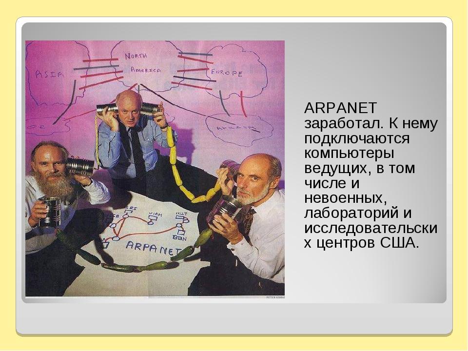 ARPANET заработал. К нему подключаются компьютеры ведущих, в том числе и нев...