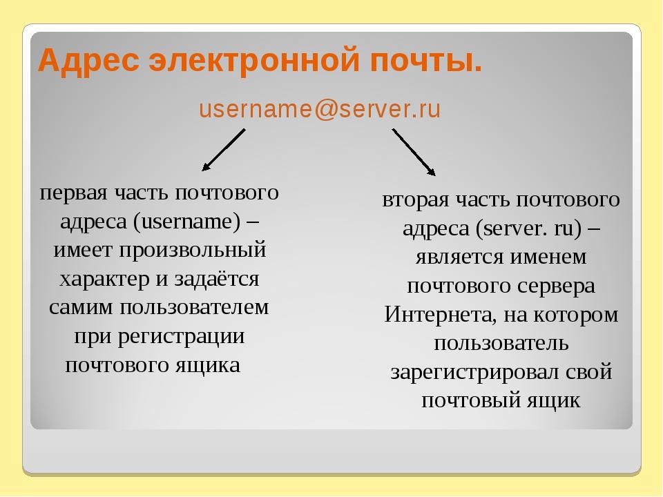 Адрес электронной почты. первая часть почтового адреса (username) – имеет пр...