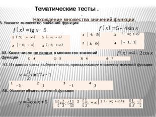 Нахождение множества значений функции. А8.Укажите множество значений функции