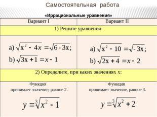 Самостоятельная работа «Иррациональные уравнения» ВариантI ВариантII 1) Решит