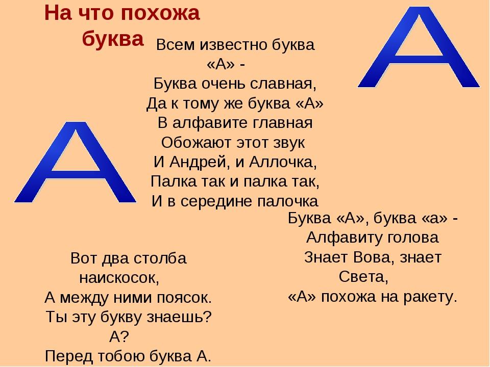 На что похожа буква Буква «А», буква «а» - Алфавиту голова Знает Вова, знает...
