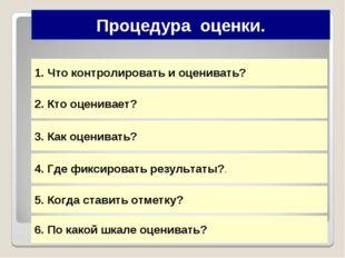 Что контролировать и оценивать? 2. Кто оценивает? 3. Как оценивать? 4. Где фи