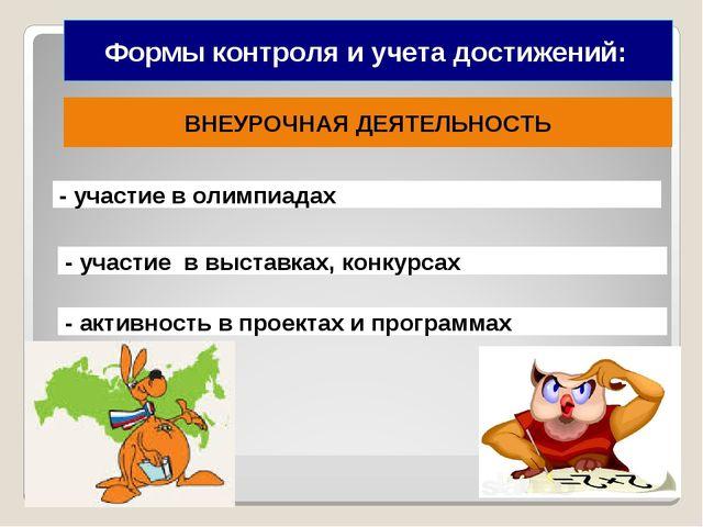 Формы контроля и учета достижений: ВНЕУРОЧНАЯ ДЕЯТЕЛЬНОСТЬ - участие в выстав...