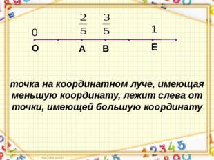Е О 0 1 точка на координатном луче, имеющая меньшую координату, лежит слева