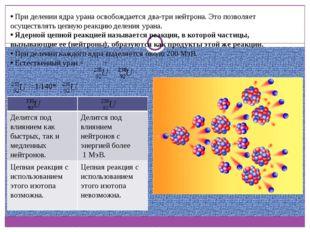 При делении ядра урана освобождается два-три нейтрона. Это позволяет осущест