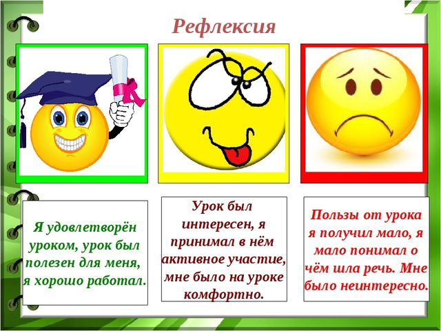Рефлексия Я удовлетворён уроком, урок был полезен для меня, я хорошо работал....